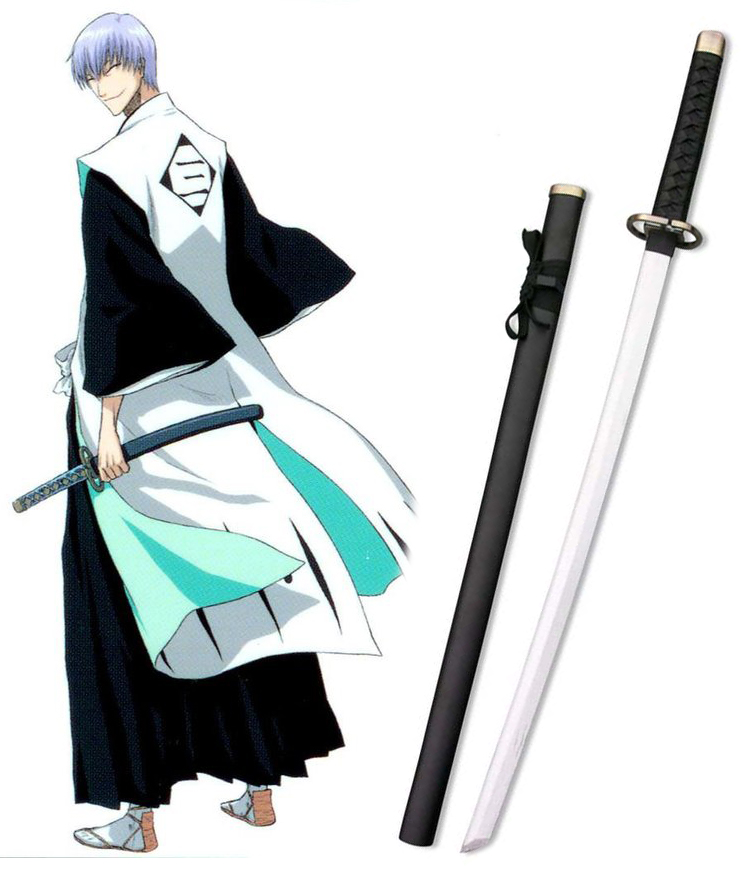 Bleach Ichimaru Gin Zanpakutou Shinsou Cosplay Wooden Weapons Black