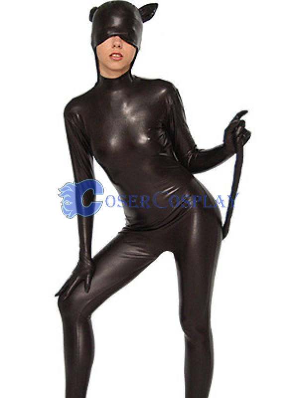 Wetlook Cat Suit With Tail Open Mouth