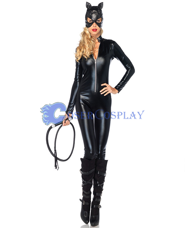 Wetlook Catsuit Front Zipper With Hat