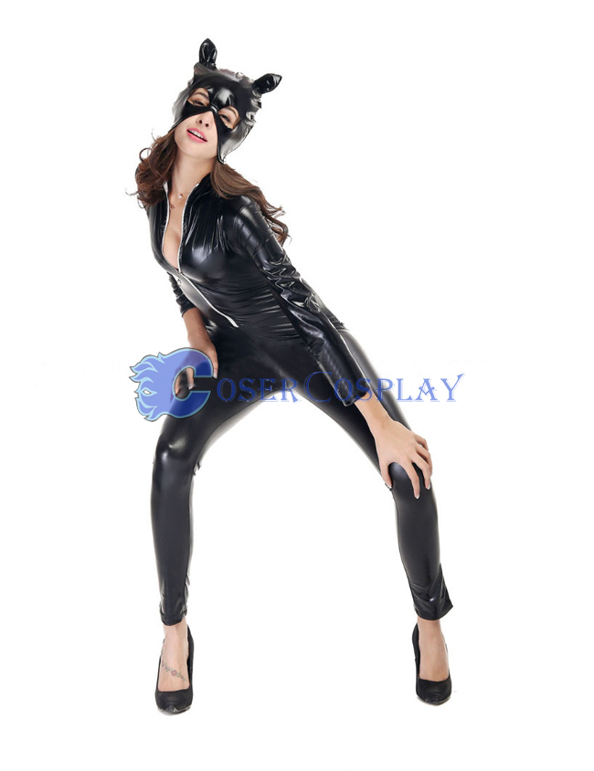 Black Front Zipper Wetlook Catsuit