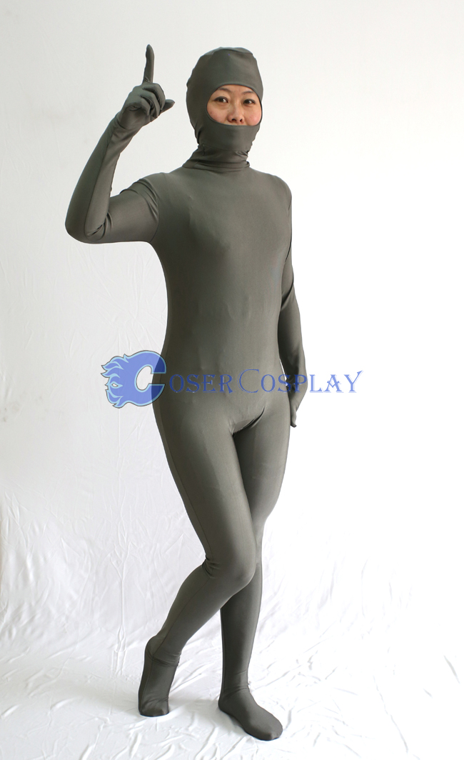 Open Face Grey Zentai Costume