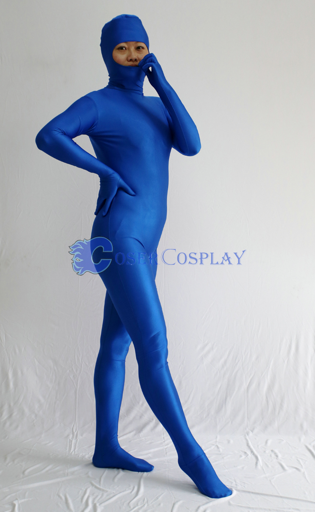 Open Face Zentai Costume Deep Blue