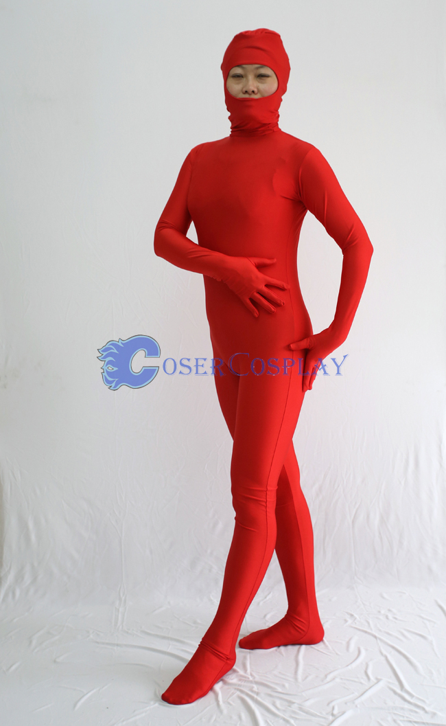 Open Face Zentai Costume Deep Red Female