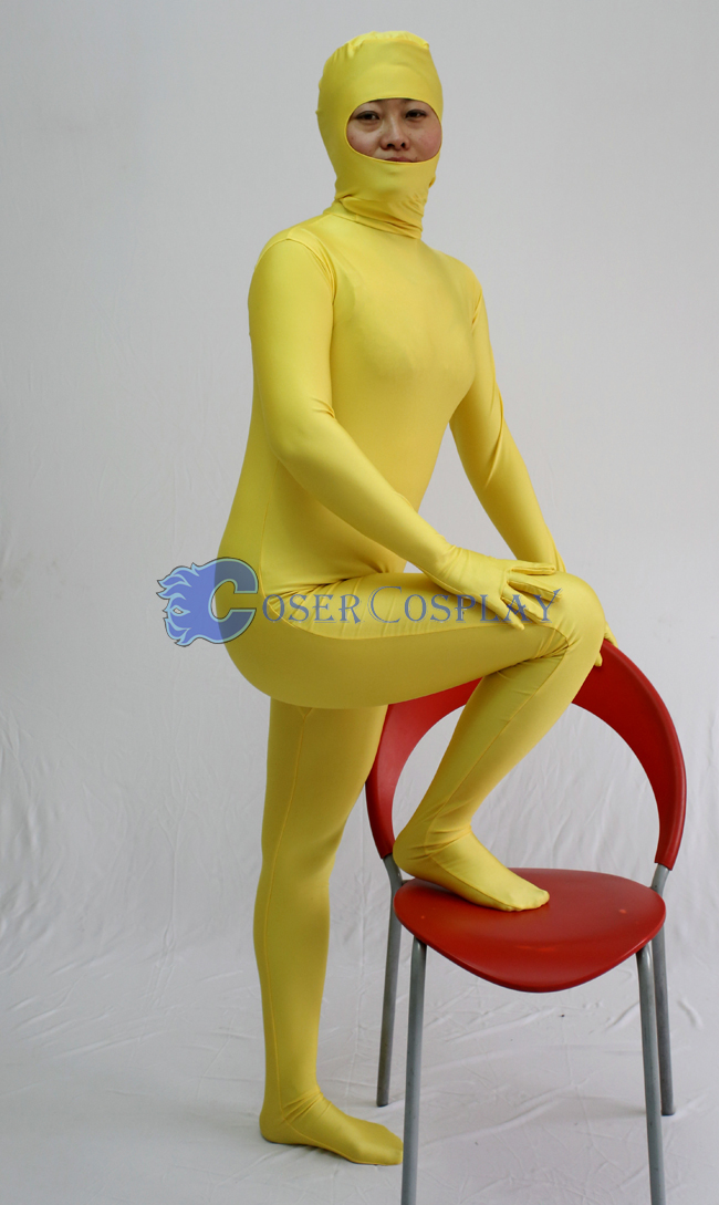 Open Face Zentai Costume Deep Yellow