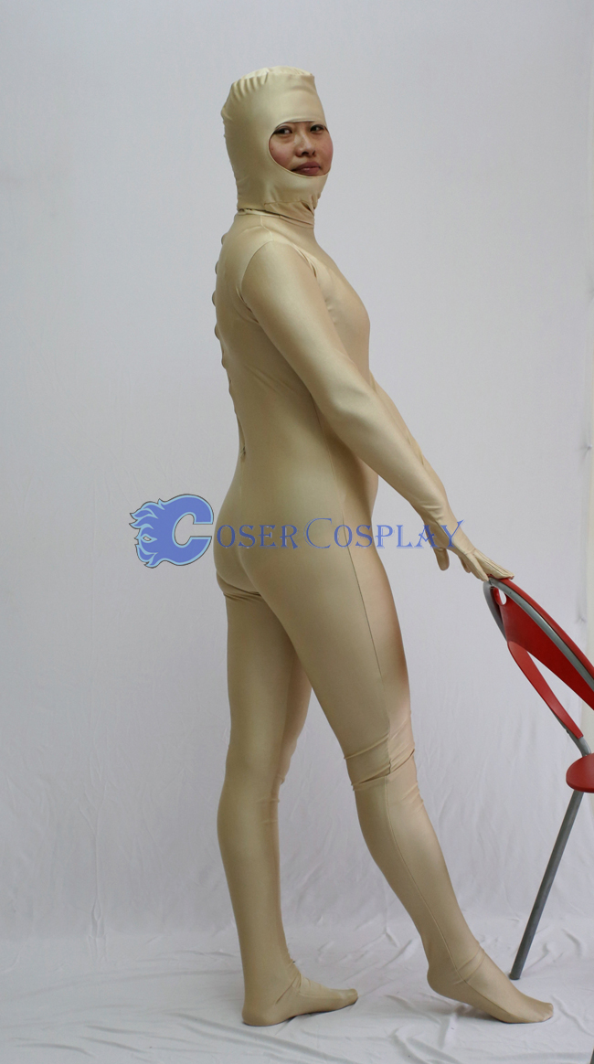 Open Face Zentai Costume Deep Beige
