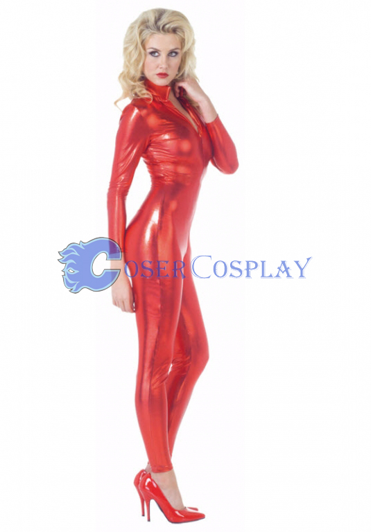 High collar Red Wetlook Catsuit