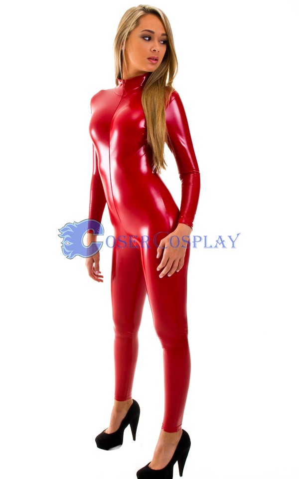 Front Zipper Red Wetlook Catsuit