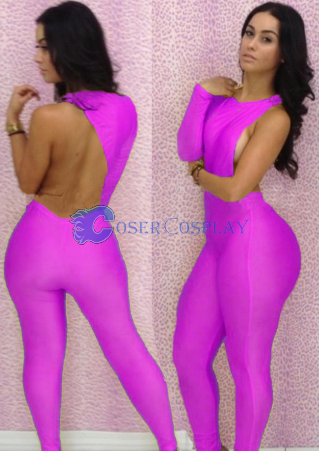One-Shoulder Pink Party Catsuit