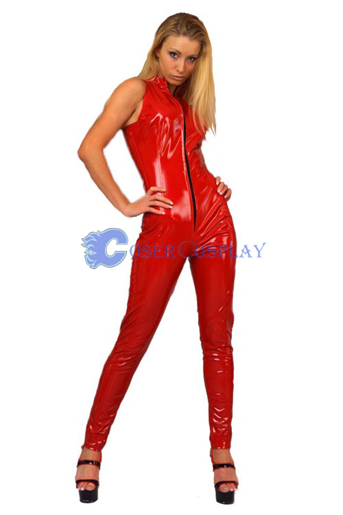 Red Pvc Night Club Tights Unitard