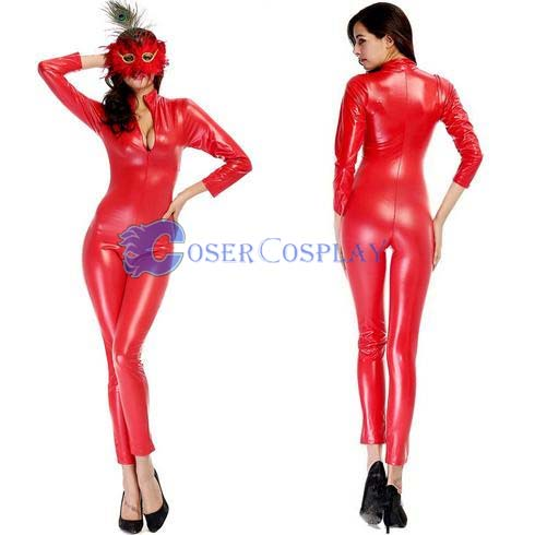 Hot Red Wetlook Catsuit