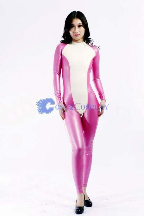 White Pink Costume Wetlook Catsuit