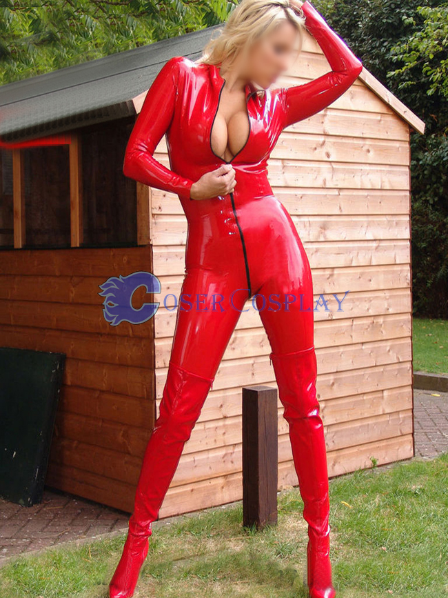Red Pvc Sexy Party Catsuit