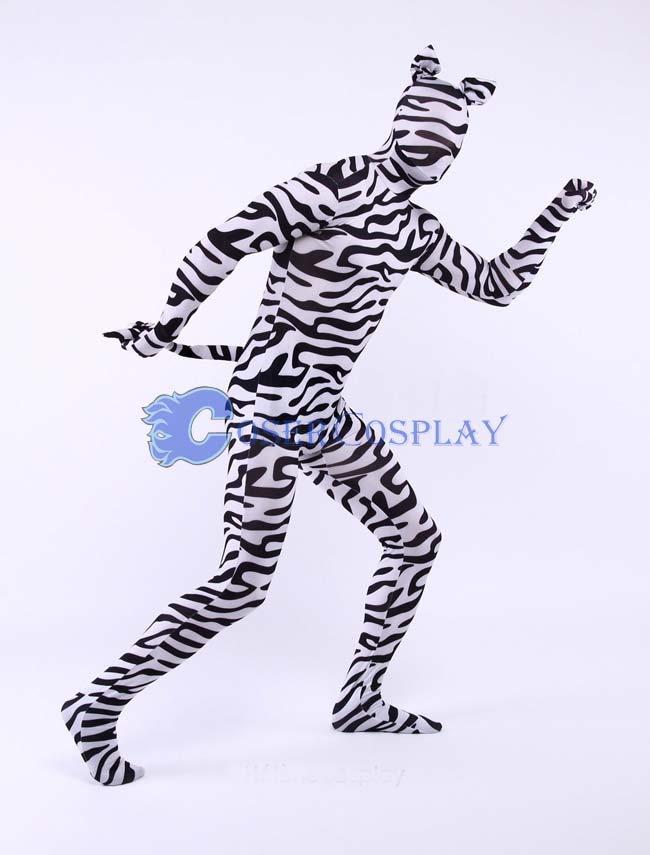 Zebra Zentai Animal Full Body Lycra