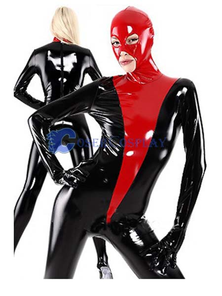 Red And Black PVC Sexy Zentai