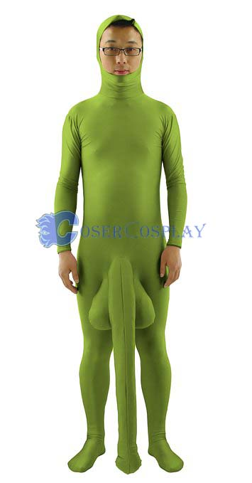 Green Zentai For Male With Penis Party
