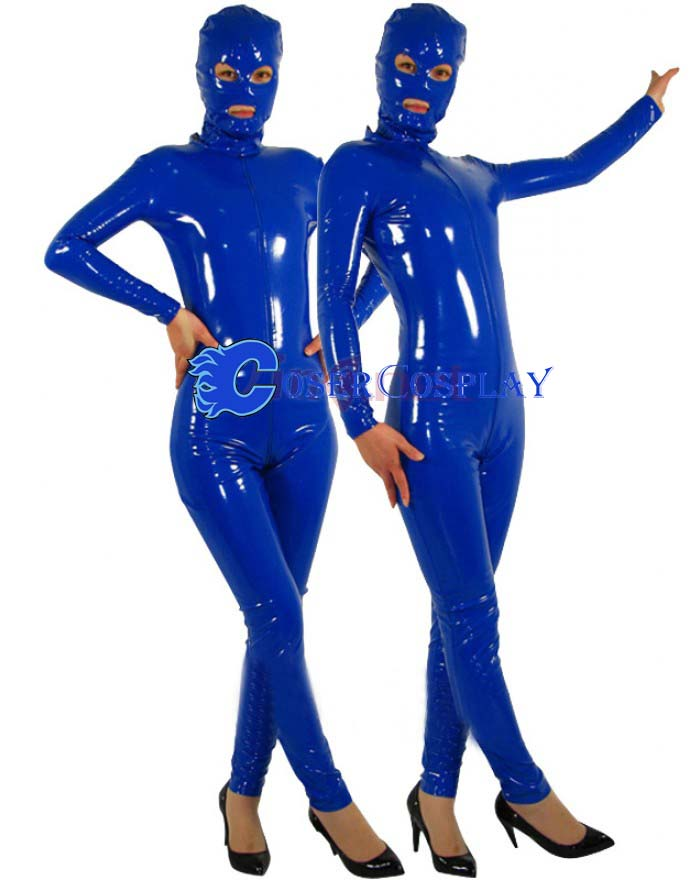 Blue Pvc Full Body Open Eye Zentai
