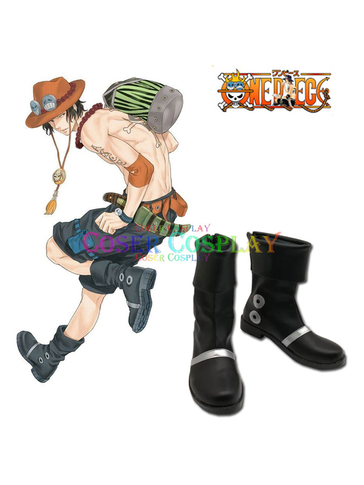 1901 ONE PIECE Portgas D Ace Black Boots Cosplay Halloween