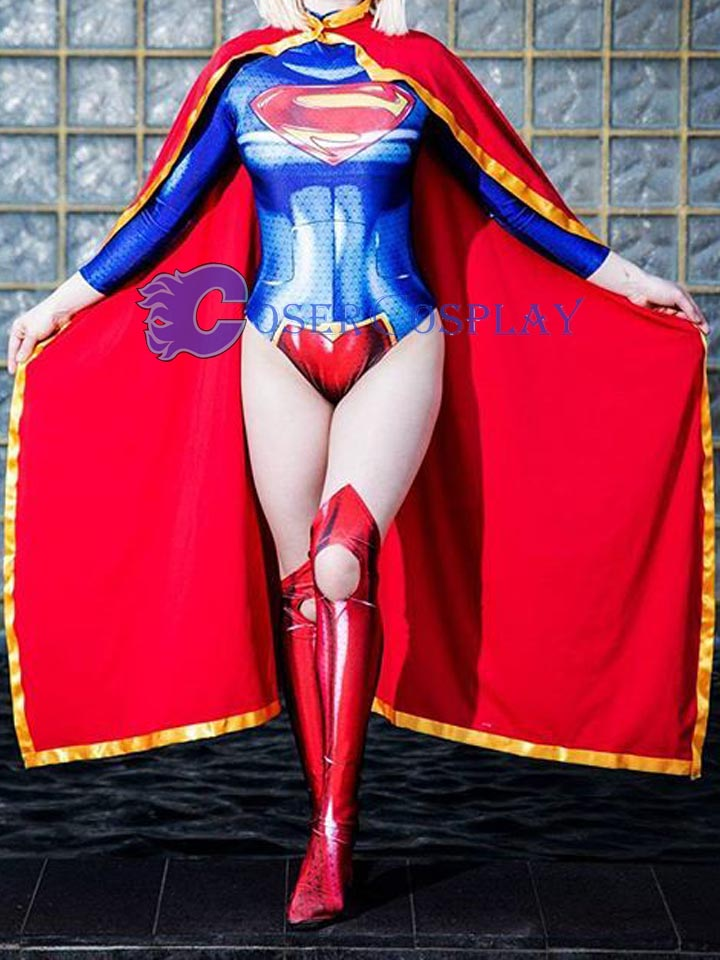 2018 3D Supergirl Cosplay Costume With Cape