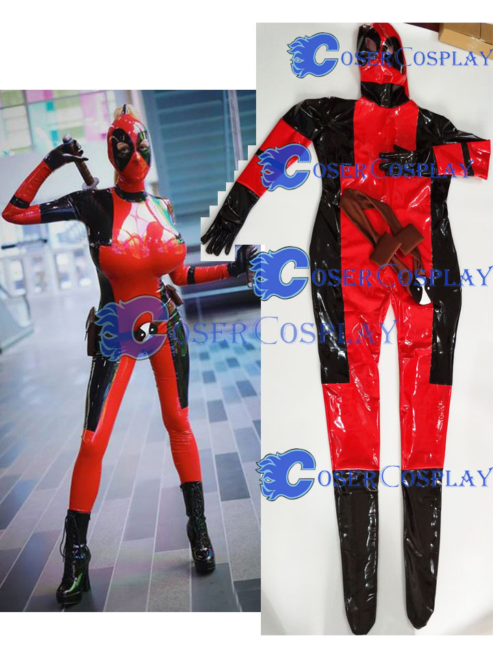 2018 Deadpool Full Body Zentai PVC Sexy Halloween Costume