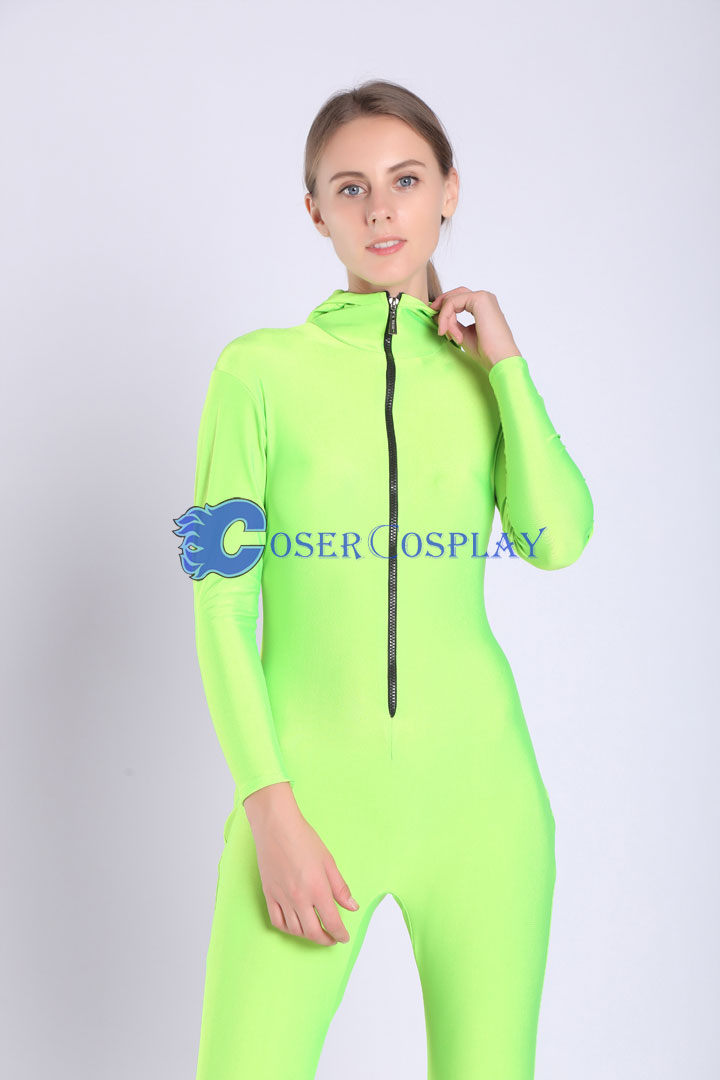 2018 Grass Green Simple Catsuit For Girl Hoodie