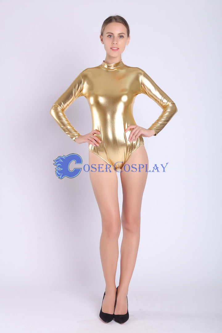 2018 Shiny Gold Bodysuit Sexy Wetlook Catsuit