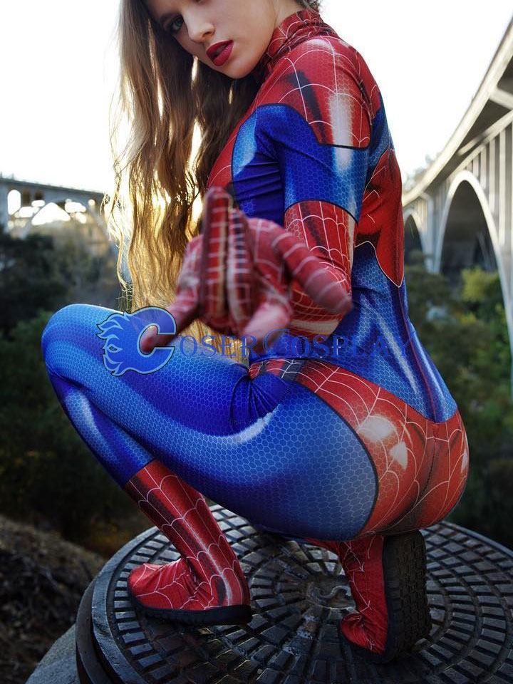 2018 Spider Woman Girl Shiny Catsuit For Halloween