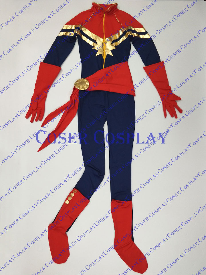 2019 Captain Marvel Carol Danvers Cosplay Costume Catsuit 0421