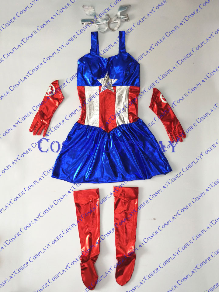 2019 Female Captain America Cosplay Costume Dress Halloween 0805