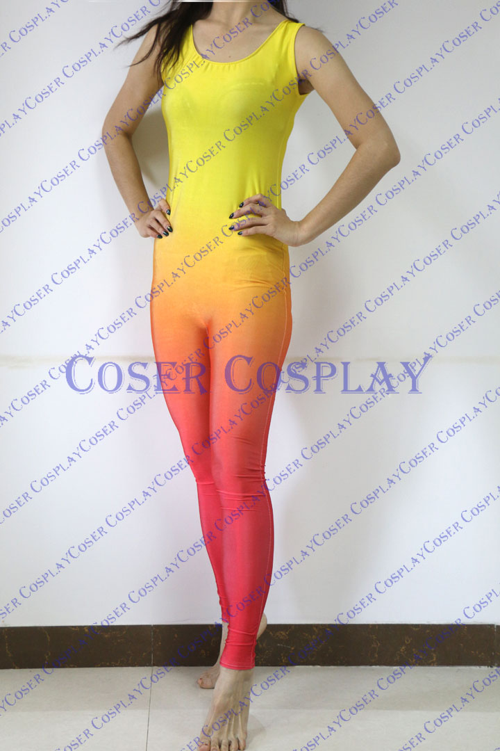 2019 Flame Gradient Color Sexy Catsuit Unitard 0322