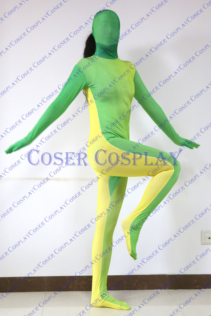 2019 Split Zentai Sexy Halloween Costumes Green Yellow 0305