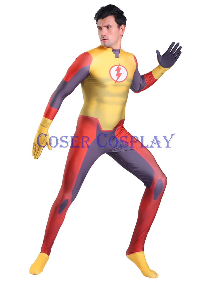 2020 Kid Flash Cosplay Halloween Costume Bodysuit 1108