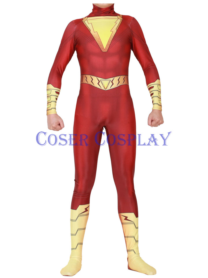 2020 Shazam Captain Marvel Cosplay Costume Superhero Cape 1129