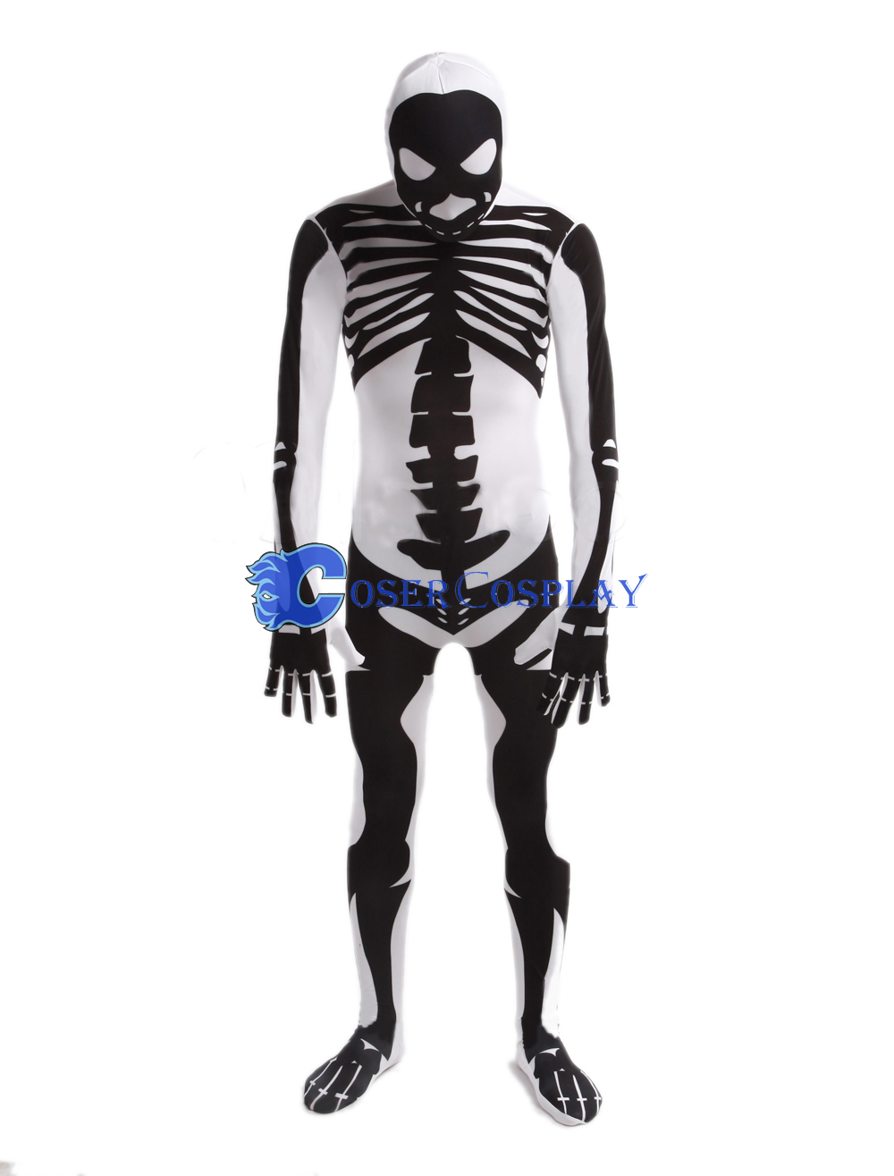 Adult Halloween Costumes Zentai Skeleton White
