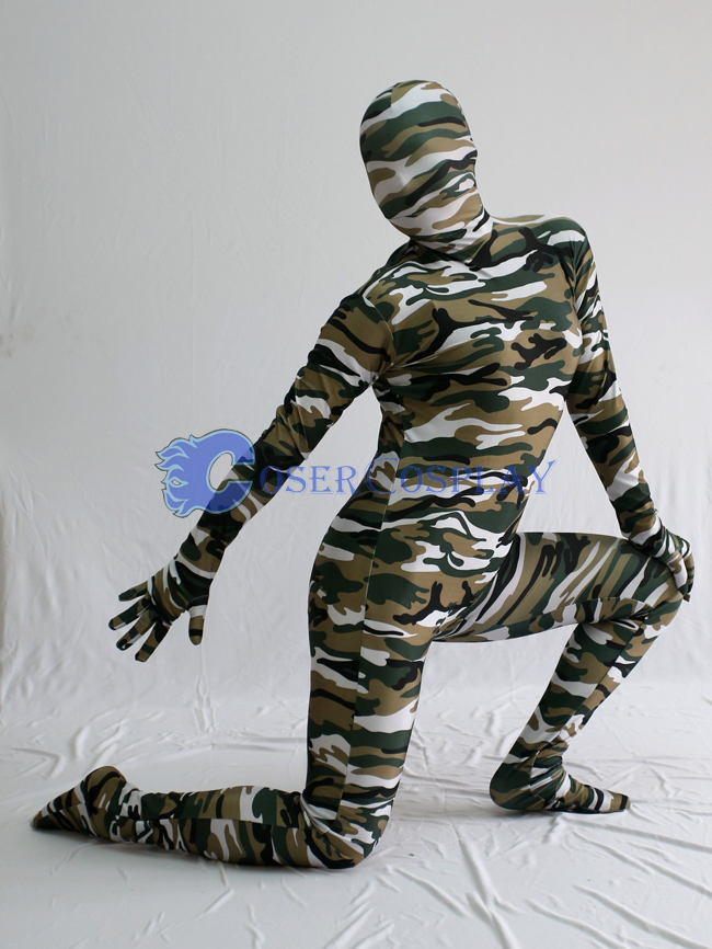 Army Green Black Camouflage Zentai Suit