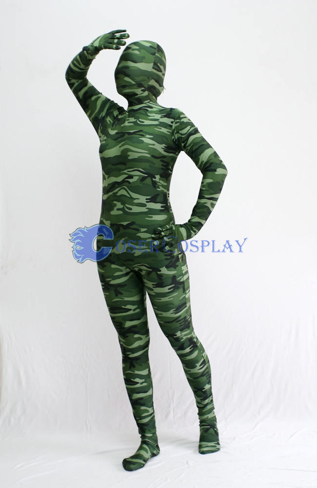 Army Green Camouflage Zentai Suit