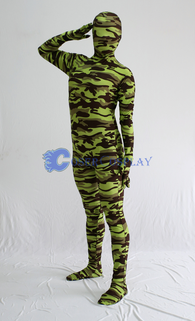 Army Green Camouflage Zentai Suits