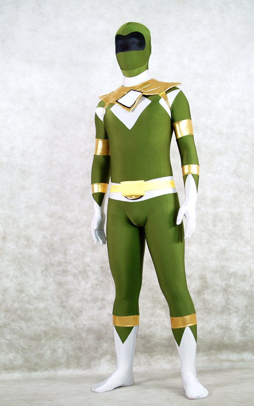 Army Green Superhero Ranger Cosplay Zentai