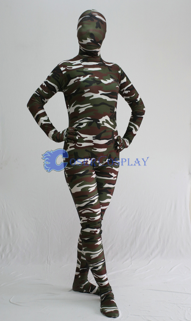 Army Green White Camouflage Zentai Suit