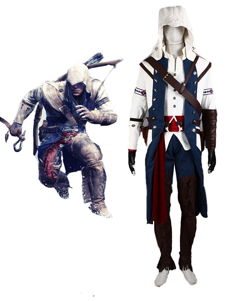 Assassin S Creed Iii Connor White Assassin Uniform Cosplay Costume