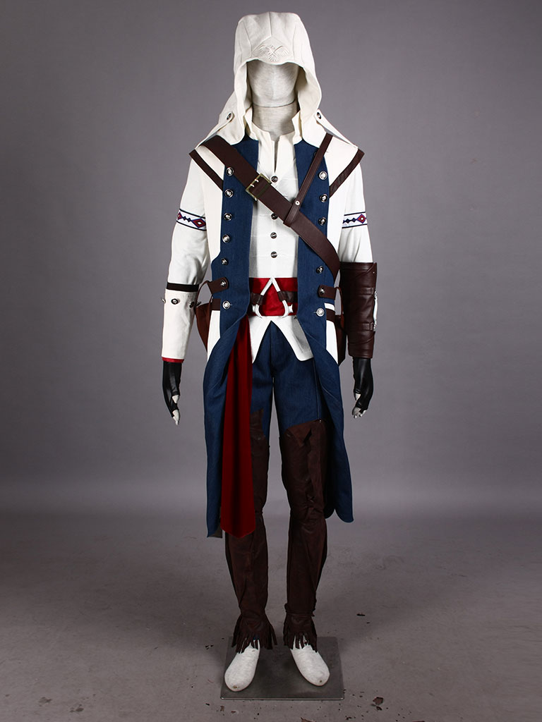 Assassin S Creed Iii Connor White Assassin Uniform Cosplay Costume