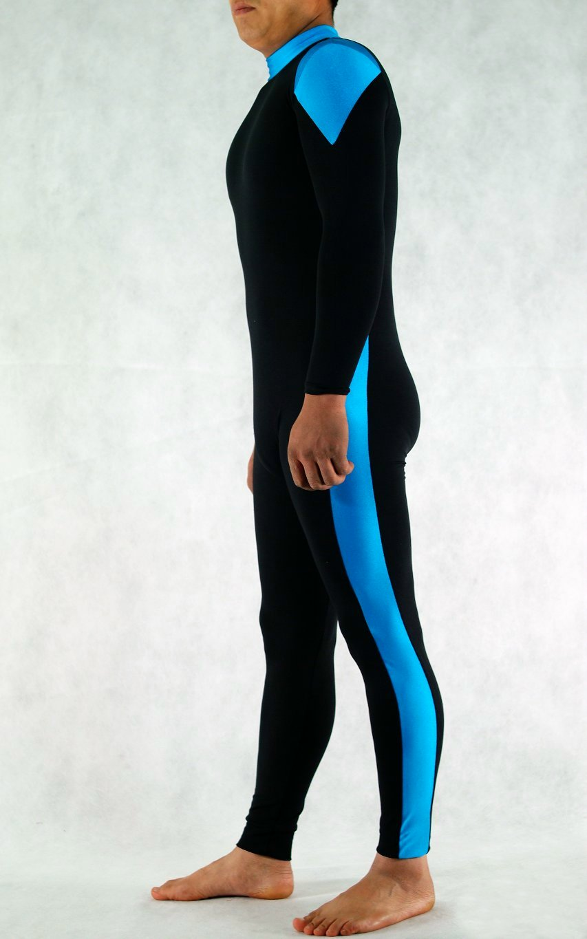Athlete Spandex Black Blue Unitard
