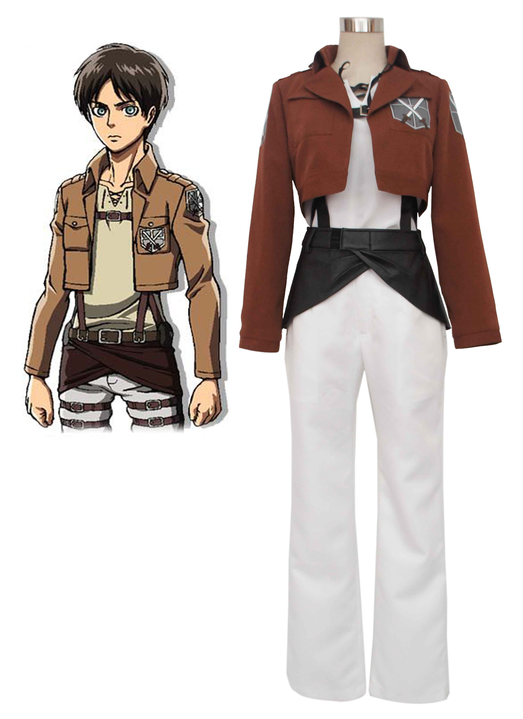Attack on Titan Eren Jaeger Trainee Class Boy's Uniform Cosplay Costume