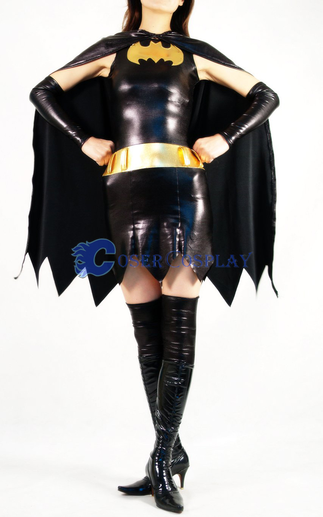 Batman Costume Batgirl Shiny Spandex Dress
