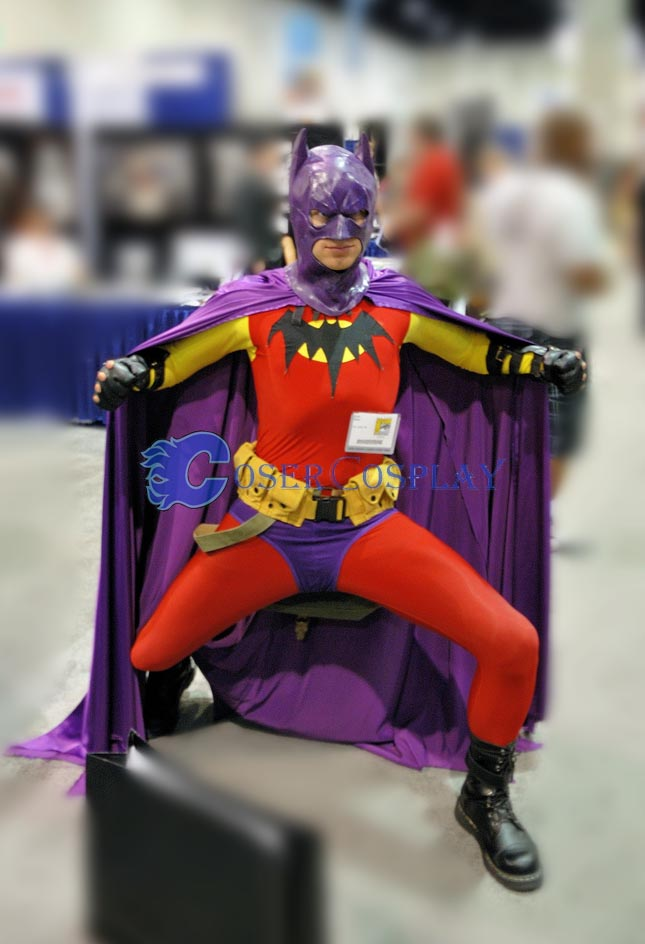 Batman Costume Halloween Zentai Purple Cape