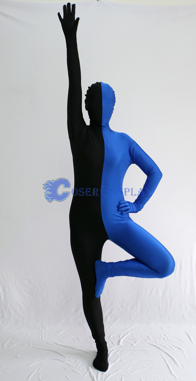 Black And Blue Split Zentai Suit