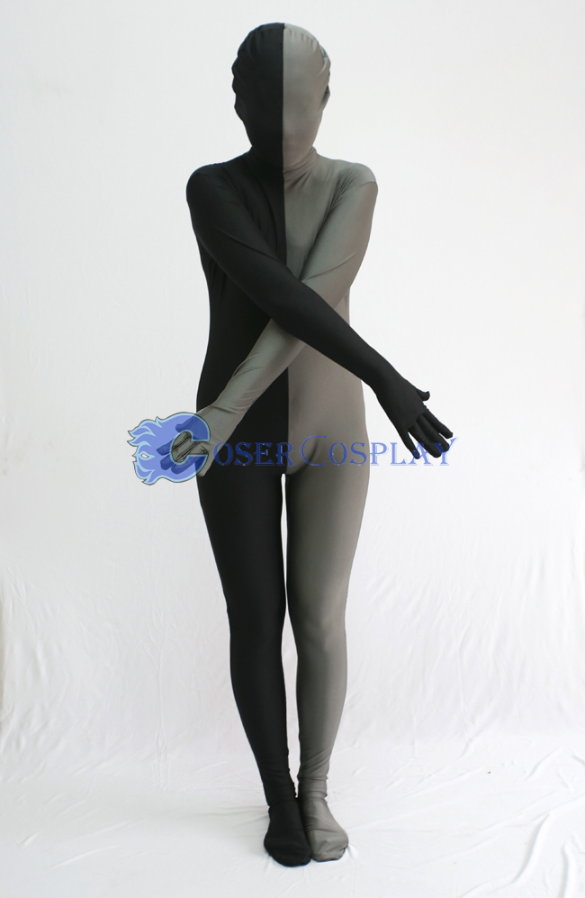 Black And Grey Split Zentai Suit