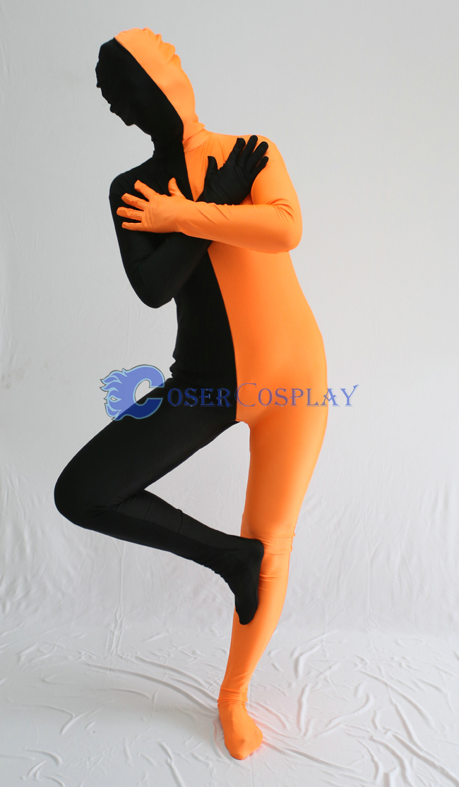 Black And Orange Split Zentai Suit