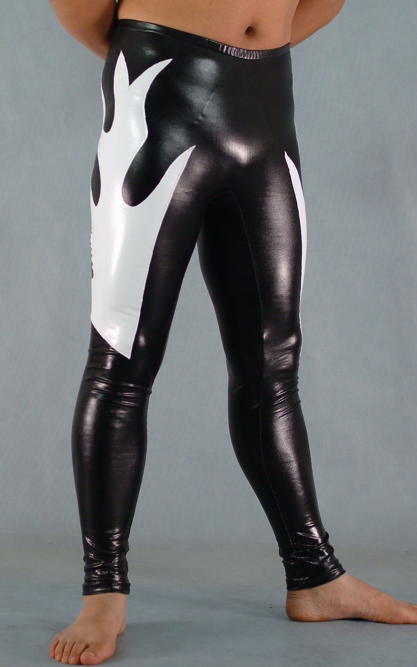 Black And White Shiny Spandex Leggings