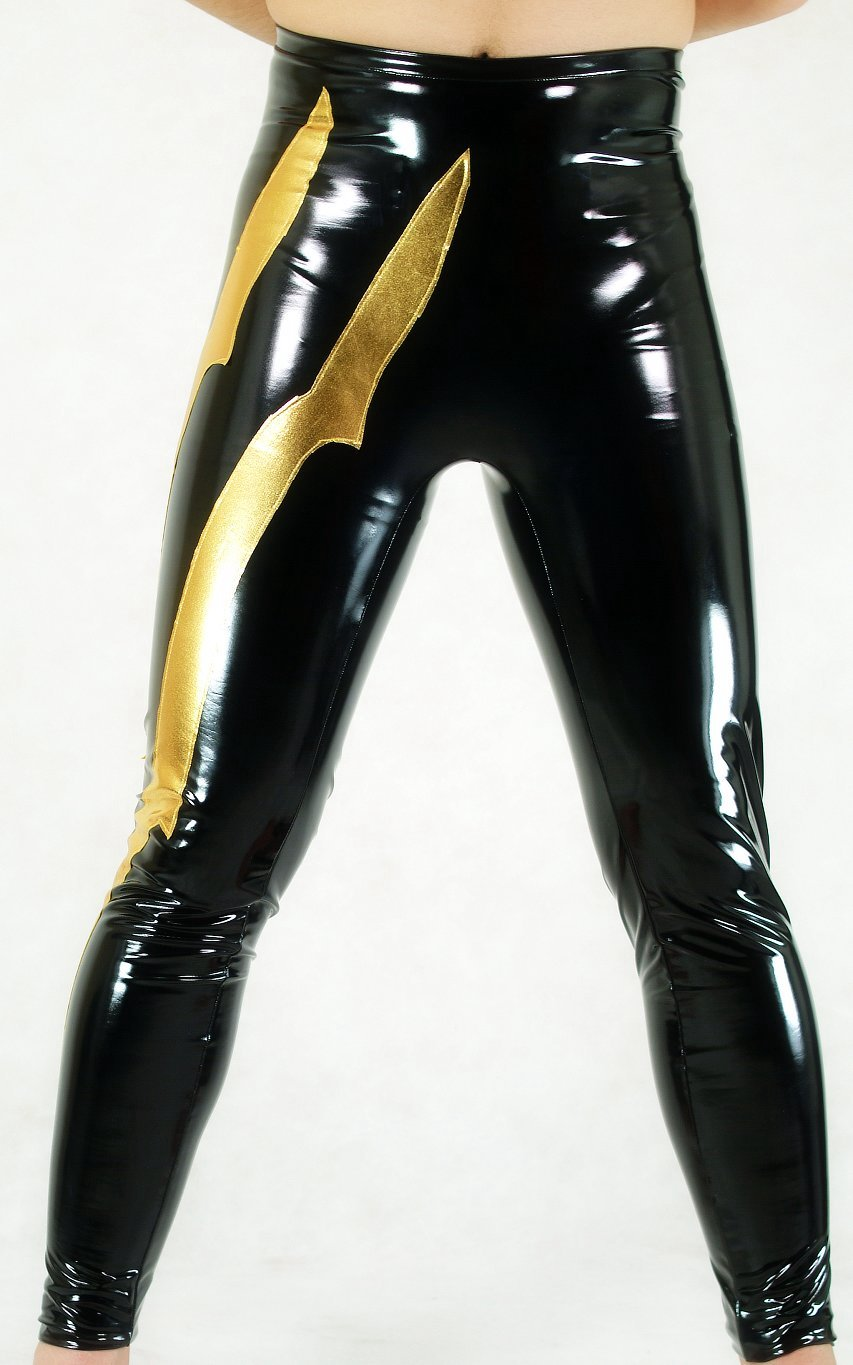 Black Gold PVC Leggings Sexy