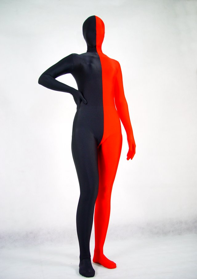 Black Red Split Halloween Costume Zentai